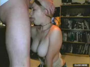 Big titted blonde giving a very DEEP THROAT blowjob!