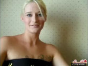 Blonde girl with tattoo on her breasts masturbates, and then gets fucked!