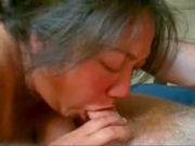 Mature latina babe doing a deep throat blowjob and swallowing his cum!