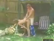 Couple caught having outdoorsex in the garden!