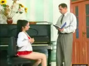 Cute teen seducing her piano teacher, getting different lessons from him!