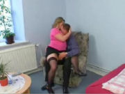 Dude inviting the fat neighbours wife in, and then suddenly his hand goes under her skirts!