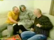 Old granny having a sex orgy with two friends!