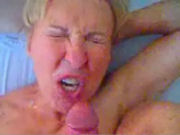 Mature housewife getting her face and mouth full of cum!