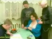 Mature lady invited three young boys to have sex fun together at home!