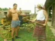 Old farmers wife forcing young boy to undress and fuck her in the haystack!