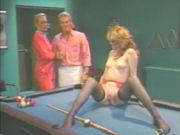 Older couple having sex with a young girl on the pool table!