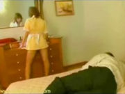 Hotel guest surpising the maid when she cleans the room, then she gets forced to fuck him in front of the mirror!