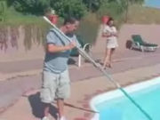 Rich MILF seducing the pool cleaning boy!
