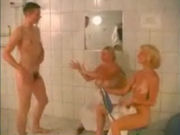 Two hot mature ladies meet a young guy in the healthcenter shower!