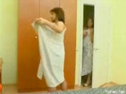 Longhairy dude has taken a shower, voyeur girl watching him a while, then seducing him!