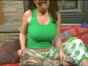 Big titted girl getting horny, undresses and masturbates in front of the fire...!