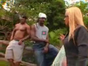 Blonde mature meets two strangers outdoors at a farm!
