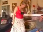Cheating housewive showing new dress to her neighbour, but then suddenly she starts to undress to seduce him!