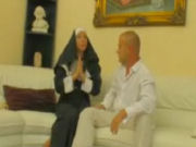 Dirty nun seducing a baldy dude to have sex with her!