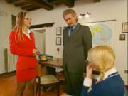 Sexy MOM and daughter have a talk with the teacher, but it turns out into a hot threesome!