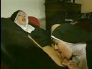 Two nuns caught having sex by a priest, then it turns out into a threesome...!