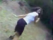 Woman in the wood is very scared for a man, she runs away and he comes after her!