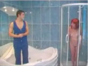 Jaccuzi mechanic is surprised that mature customer takes a shower while he is still there!