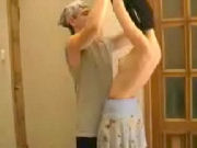 Boy is gentle and helps hot skinny MOMMIE undress...