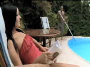 MILF seducing the pool cleaner when husband is at work...