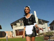Maid fucks the boss outdoors for extra cash...