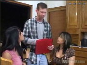 Handyman presents teh bill for his work, but the girls want to pay in kind