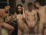 Teen getting gangbanged by three boys at a party