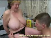Bigtitted Grandma seducing young boy