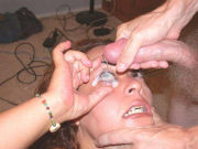 Forced cum in her eye, real hurting